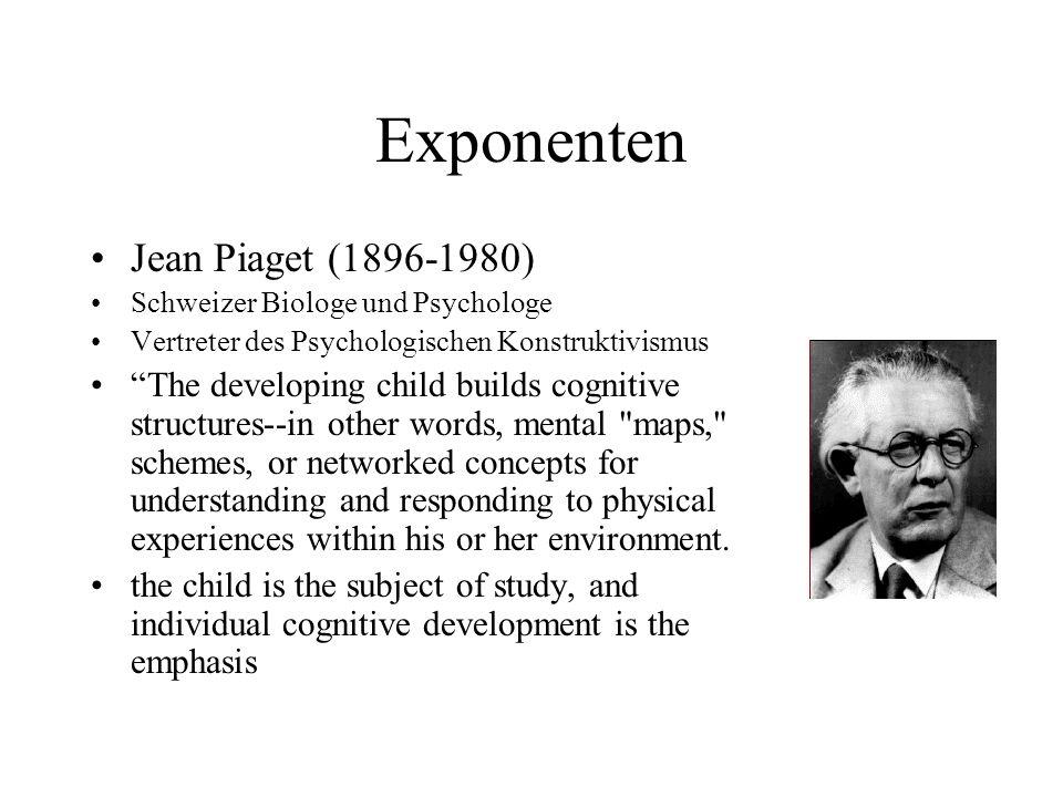 Exponenten Jean Piaget (1896-1980) Schweizer Biologe und Psychologe Vertreter des Psychologischen Konstruktivismus The developing child builds cogniti