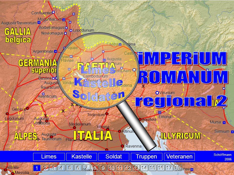 Intro Tridentum Massilia Augusta Taurinorum Augusta Rauracum Augusta Vindelicorum Carnuntum Vindobona Aquincum Mursa Emona Virunum Aventicum Sirmium S