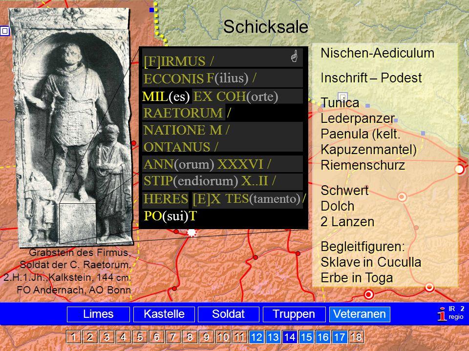 Bsp Firmus Nischen-Aediculum Inschrift – Podest Tunica Lederpanzer Paenula (kelt. Kapuzenmantel) Riemenschurz Schwert Dolch 2 Lanzen Begleitfiguren: S