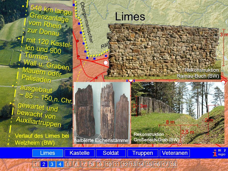 Militär Limes Limes Verlauf des Limes bei Welzheim (BW) limes, -itis m.: Schwelle Ackerrain Grenzweg 548 km lange Grenzanlage vom Rhein zur Donau mit