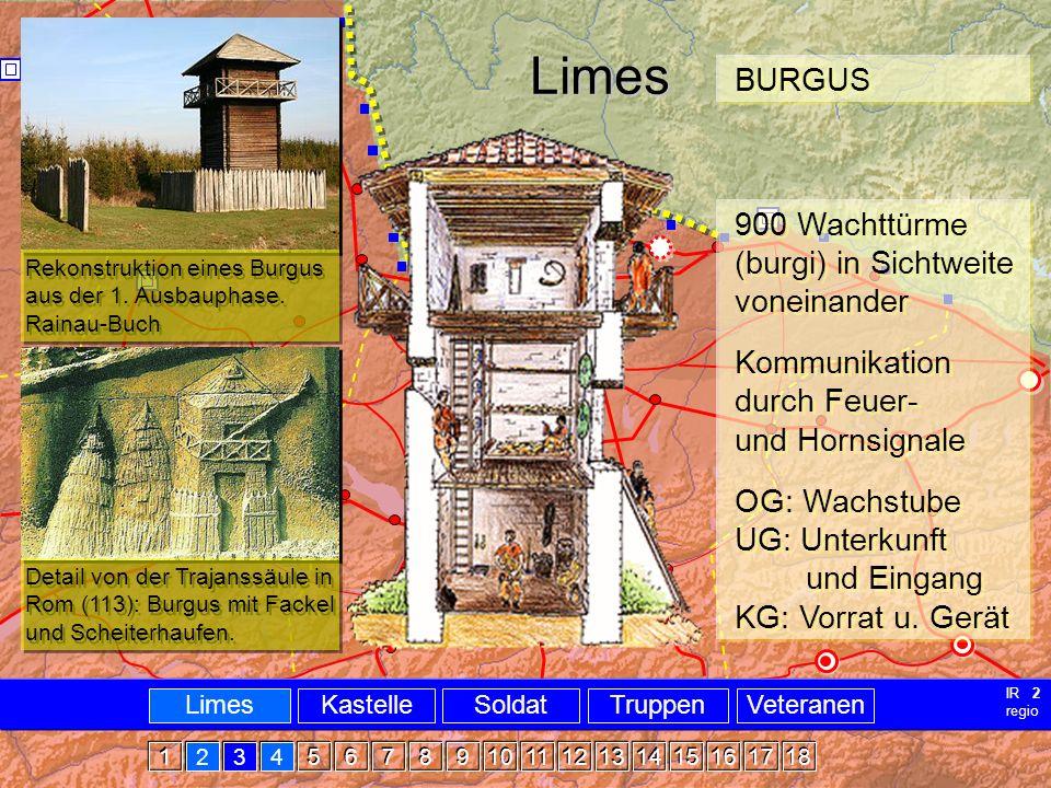 Militär Limes Burgus Limes Rekonstruktion eines Burgus aus der 1. Ausbauphase. Rainau-Buch Detail von der Trajanssäule in Rom (113): Burgus mit Fackel
