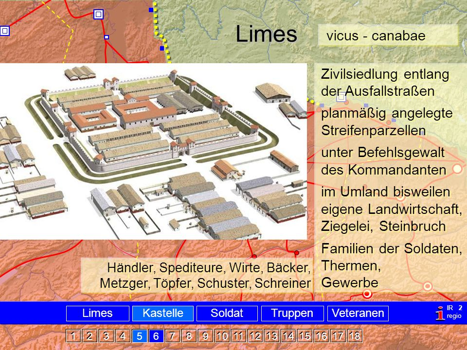 Militär Limes Castellvicus Limes Zivilsiedlung entlang der Ausfallstraßen planmäßig angelegte Streifenparzellen unter Befehlsgewalt des Kommandanten i