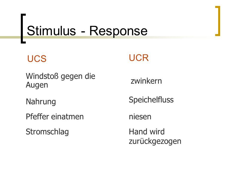 Stimulus - Response UCS UCR zwinkern Windstoß gegen die Augen Nahrung Speichelfluss Pfeffer einatmenniesen StromschlagHand wird zurückgezogen