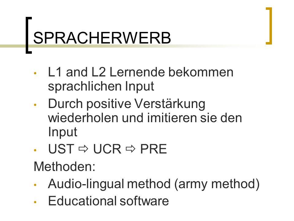 SPRACHERWERB L1 and L2 Lernende bekommen sprachlichen Input Durch positive Verstärkung wiederholen und imitieren sie den Input UST UCR PRE Methoden: Audio-lingual method (army method) Educational software