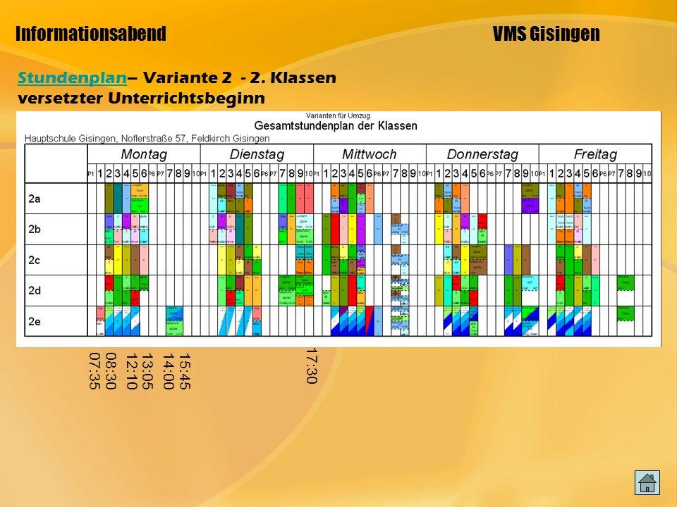 Informationsabend VMS Gisingen StundenplanStundenplan– Variante 2 - 2.