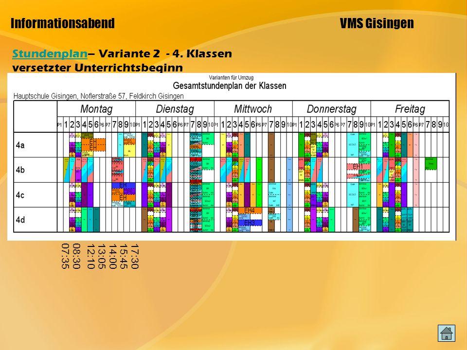 Informationsabend VMS Gisingen StundenplanStundenplan– Variante 2 - 4.