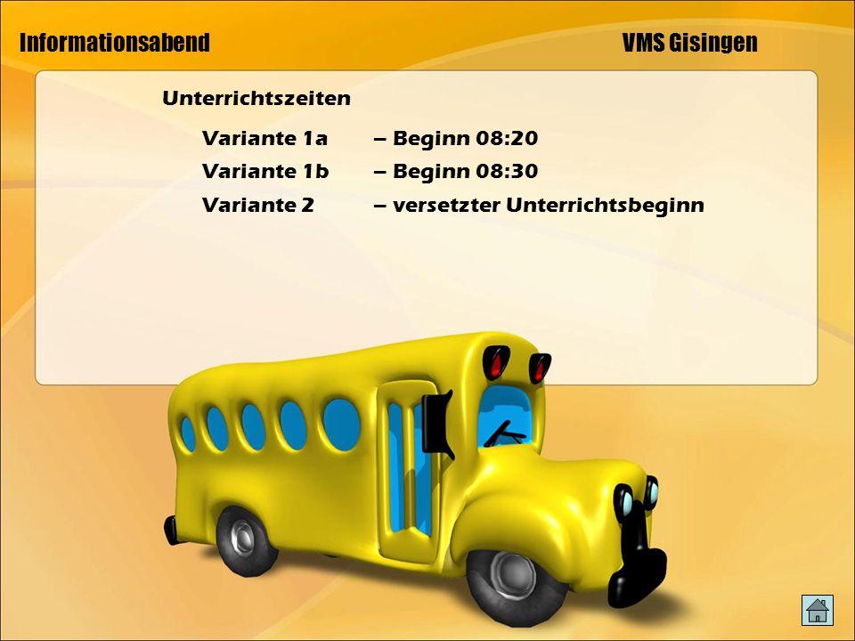 Informationsabend VMS Gisingen Unterrichtszeiten Variante 1a– Beginn 08:20 Variante 1b – Beginn 08:30 Variante 2 – versetzter Unterrichtsbeginn