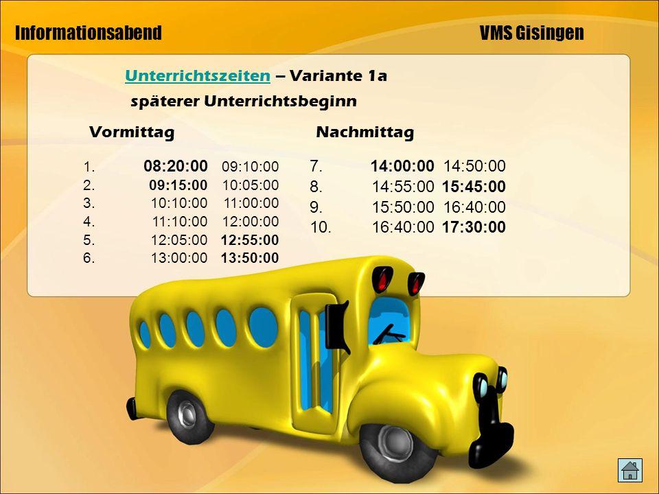 Informationsabend VMS Gisingen UnterrichtszeitenUnterrichtszeiten – Variante 1a 1.