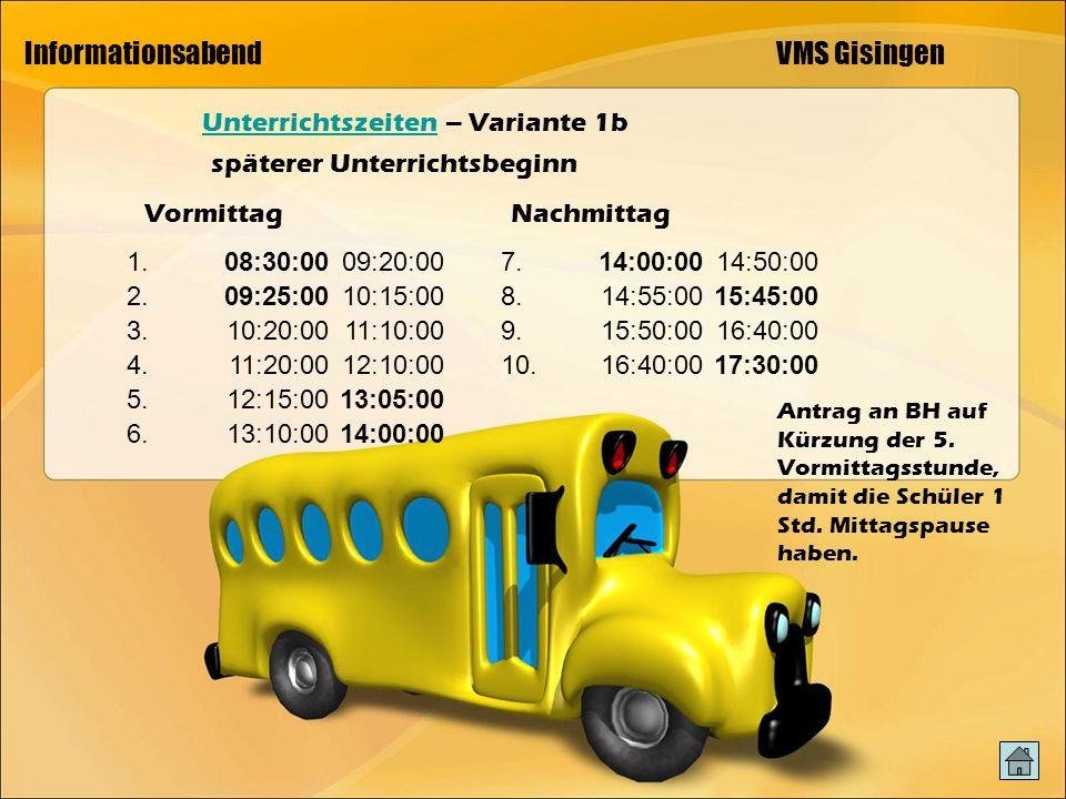 Informationsabend VMS Gisingen UnterrichtszeitenUnterrichtszeiten – Variante 1b späterer Unterrichtsbeginn VormittagNachmittag 1.08:30:0009:20:00 2.09:25:0010:15:00 3.10:20:0011:10:00 4.11:20:0012:10:00 5.12:15:0013:05:00 6.13:10:0014:00:00 7.14:00:0014:50:00 8.14:55:0015:45:00 9.15:50:0016:40:00 10.16:40:0017:30:00 Antrag an BH auf Kürzung der 5.