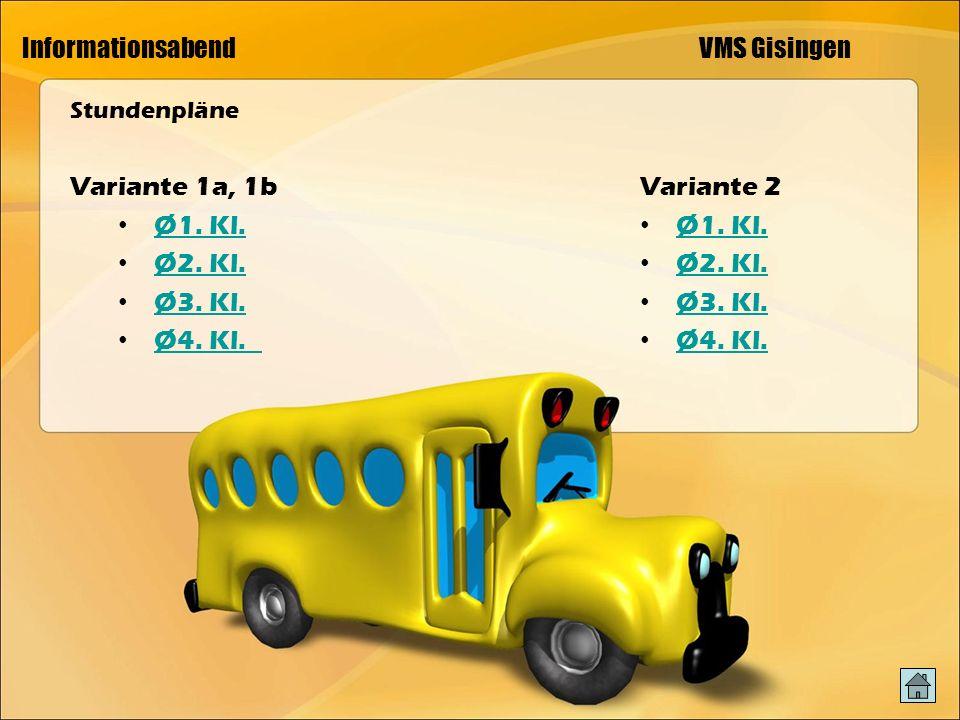 Informationsabend VMS Gisingen Stundenpläne Variante 1a, 1b Ø1.
