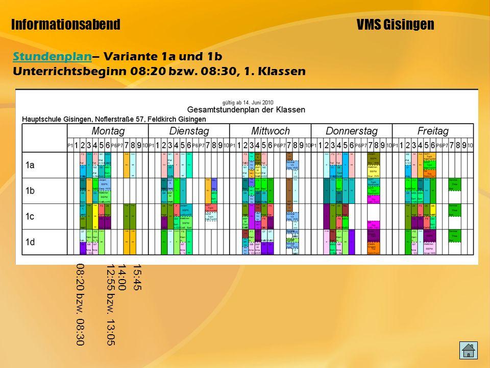 Informationsabend VMS Gisingen StundenplanStundenplan– Variante 1a und 1b Unterrichtsbeginn 08:20 bzw.