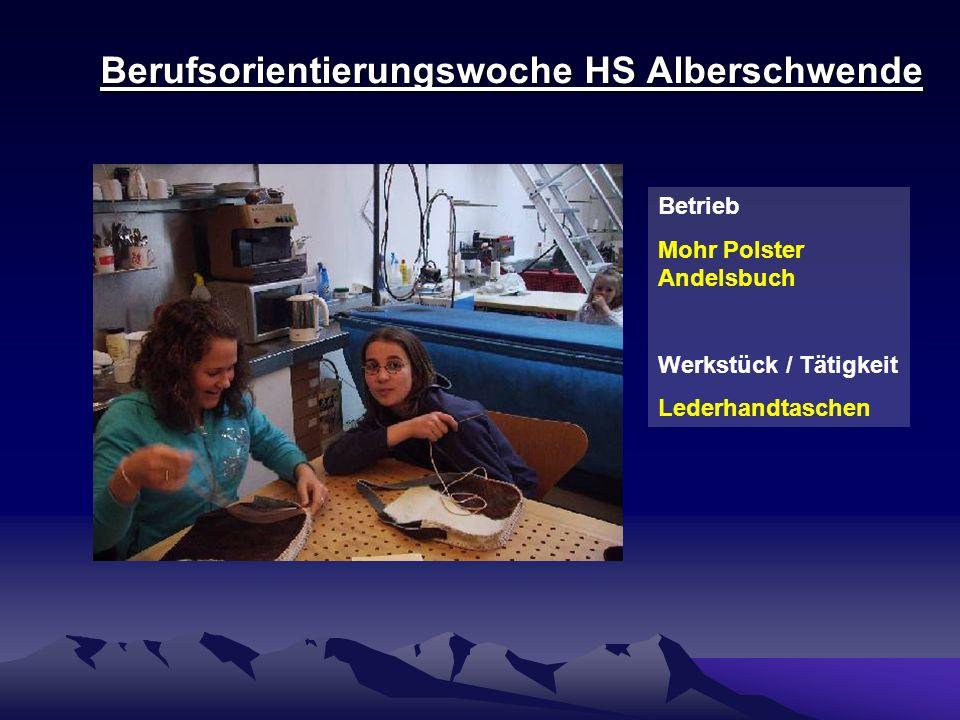 Berufsorientierungswoche HS Alberschwende Betrieb Holzbauwerk Kaufmann Reuthe Werkstück / Tätigkeit Holzböcke