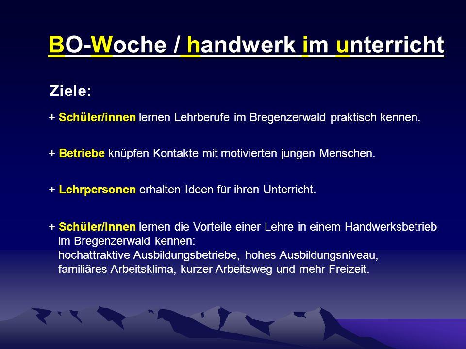 BO-Woche / handwerk im unterricht Ziele: + Schüler/innen lernen Lehrberufe im Bregenzerwald praktisch kennen.