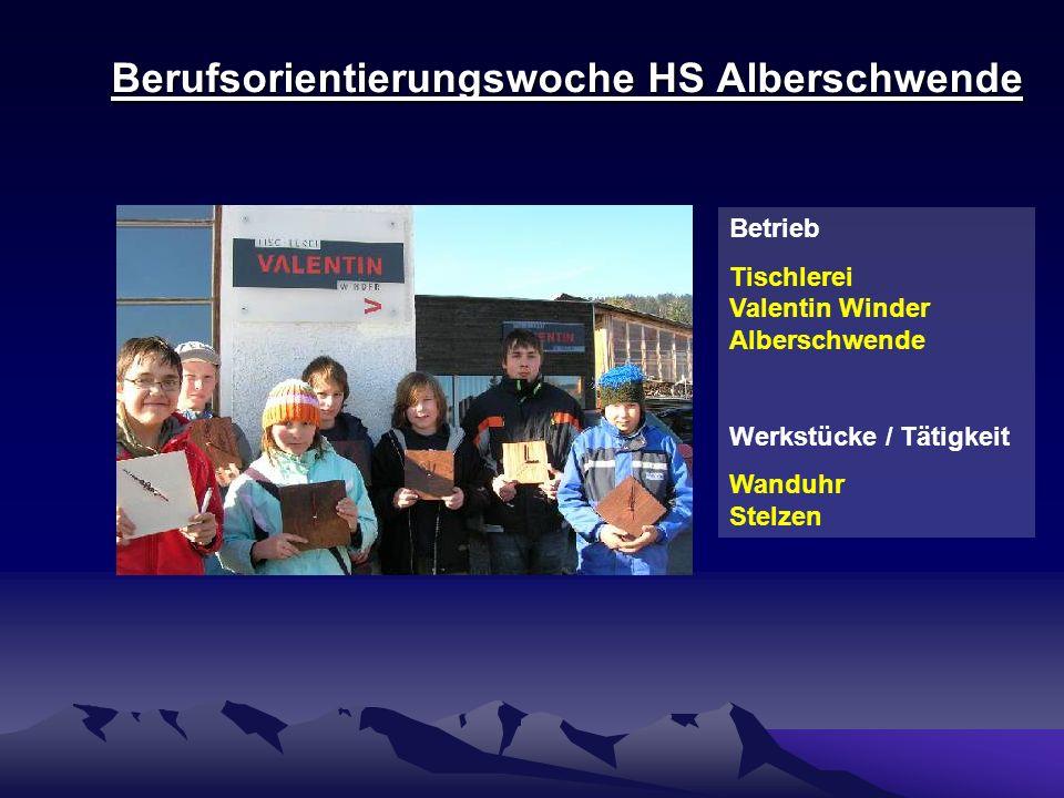 Berufsorientierungswoche HS Alberschwende Nachbereitung – Teil 2: Elternabend Schüler/innen und Lehrherren stellen Eltern Betrieb und Beruf vor