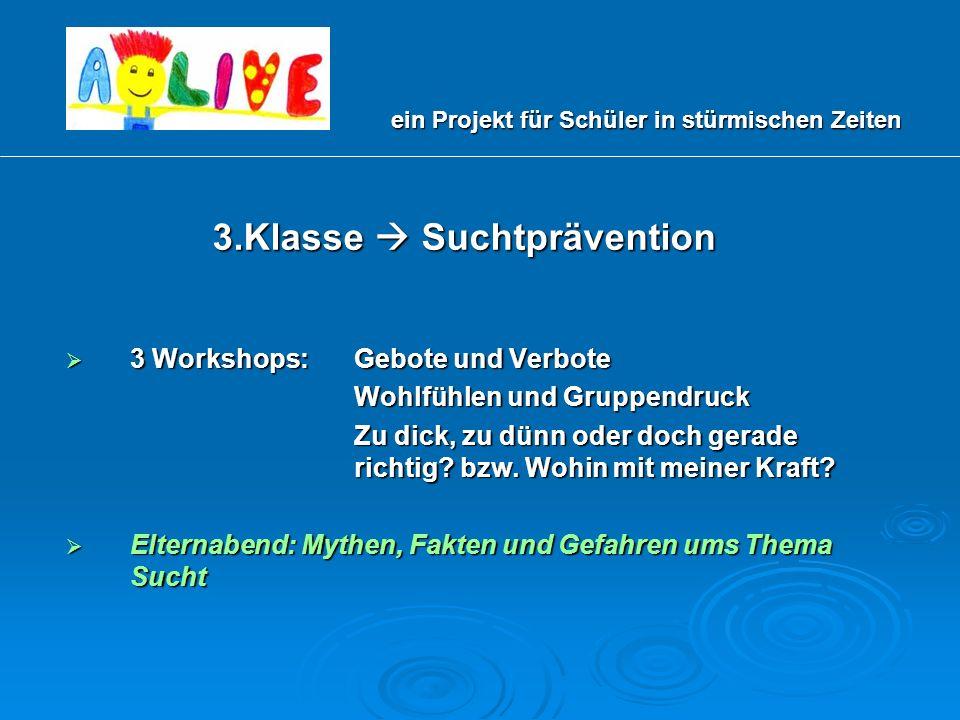 3.Klasse Suchtprävention 3 Workshops: Gebote und Verbote 3 Workshops: Gebote und Verbote Wohlfühlen und Gruppendruck Zu dick, zu dünn oder doch gerade