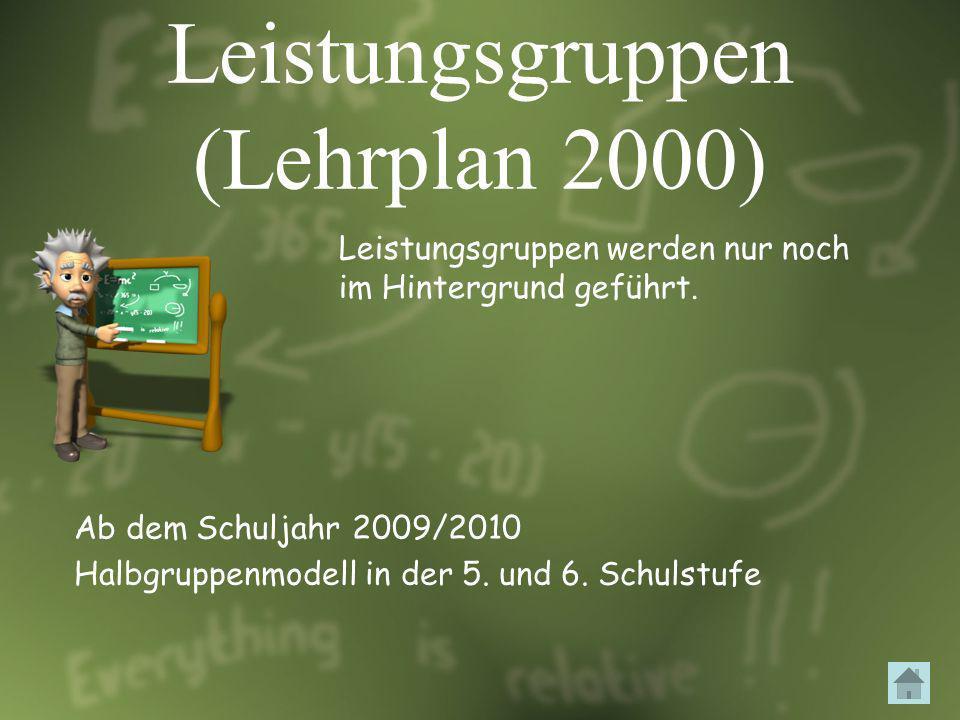 Leistungsgruppen (Lehrplan 2000) Leistungsgruppen werden nur noch im Hintergrund geführt. Ab dem Schuljahr 2009/2010 Halbgruppenmodell in der 5. und 6