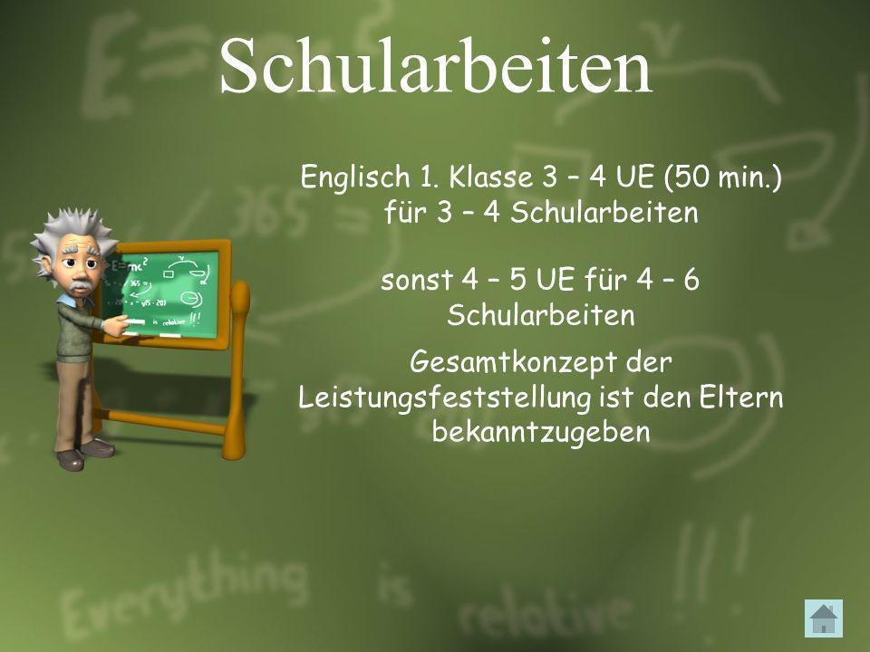 Schularbeiten Englisch 1. Klasse 3 – 4 UE (50 min.) für 3 – 4 Schularbeiten sonst 4 – 5 UE für 4 – 6 Schularbeiten Gesamtkonzept der Leistungsfeststel