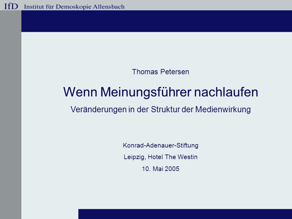 Thomas Petersen Wenn Meinungsführer nachlaufen Veränderungen in der Struktur der Medienwirkung Konrad-Adenauer-Stiftung Leipzig, Hotel The Westin 10.