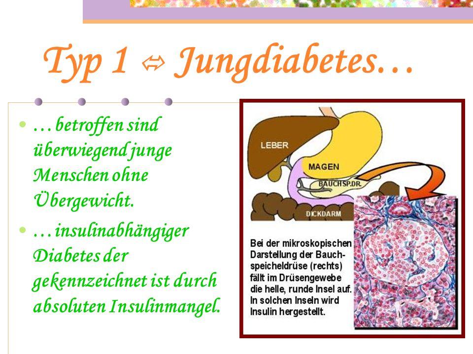 Diabetes Typen… Haupttypen : Typ 1 Typ 2 Sonderformen : Schwangerschaftsdiabetes MODY Diabetes mellitus LADA Diabetes mellitus