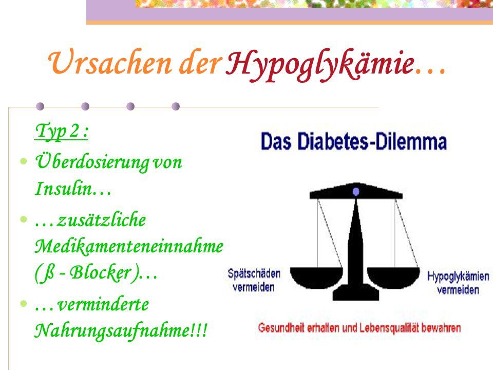 Ursachen der Hypoglykämie… Typ 1 : Menge der zu sich genommenen BE in der Nahrung zu hoch eingeschätzt… …zu langer Spritz - Eß - Abstand Insulin gespr
