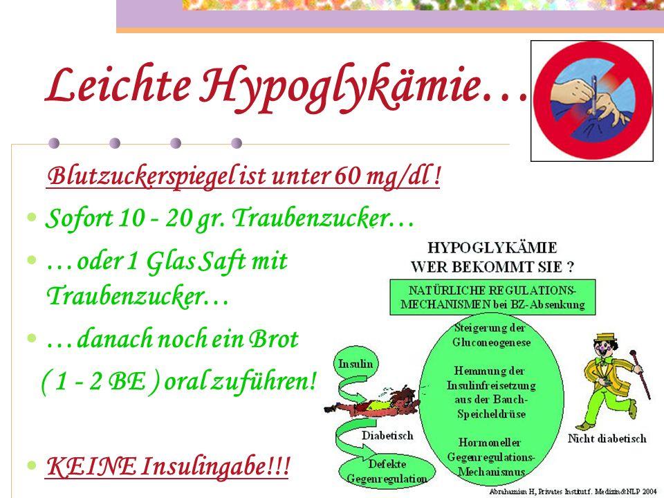 Ursachen der Hypoglykämie… Typ 2 : Überdosierung von Insulin… …zusätzliche Medikamenteneinnahme ( ß - Blocker )… …verminderte Nahrungsaufnahme!!!