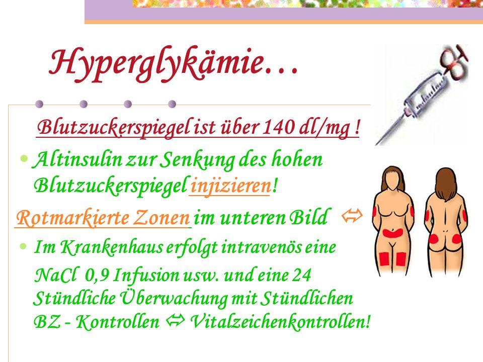Symptome der Hyperglykämie… Glucosurie ( Glucoseausscheidung über die Nieren ) Polyurie ( vermehrte Harnausscheidung ) Ketonurie ( Aceton im Urin ) Po