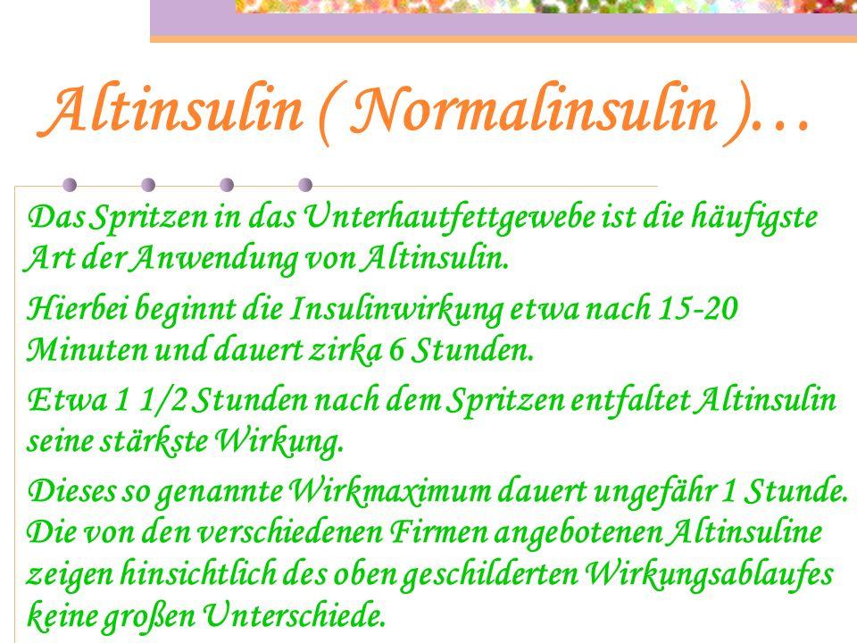 Altinsulin ( Normalinsulin )… Altinsulin ist ein Kurzwirkendes Insulin ohne Zusatz von Wirkungsverlängernden Substanzen. Es kann als einzige Insulinpr