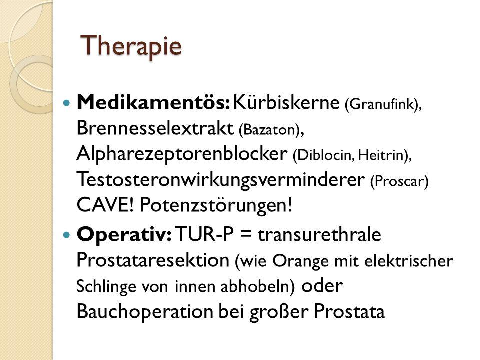 Diagnostik Rektale Untersuchung Transrektale Sonografie Uroflowmetrie: Harnstrahl, Harnmenge + Miktionsdauer werden gemessen