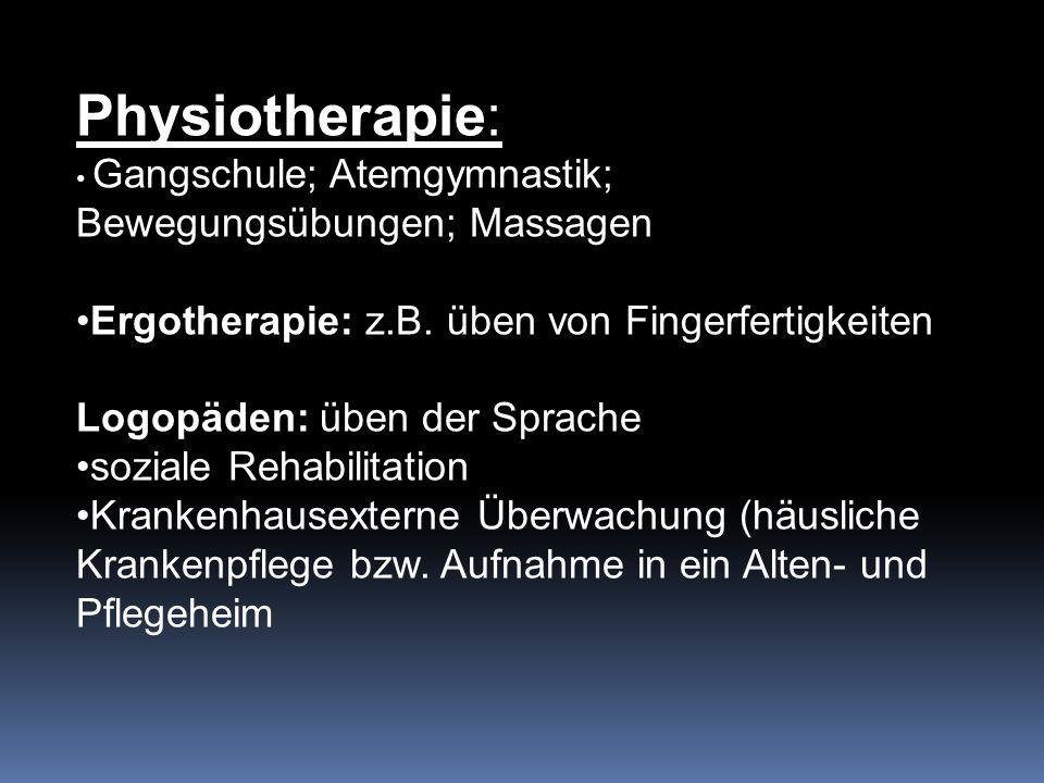 Physiotherapie: Gangschule; Atemgymnastik; Bewegungsübungen; Massagen Ergotherapie: z.B.