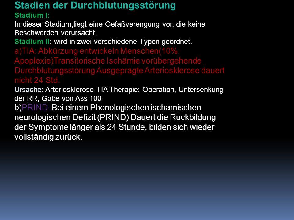 Stadien der Durchblutungsstörung Stadium I: In dieser Stadium,liegt eine Gefäßverengung vor, die keine Beschwerden verursacht.