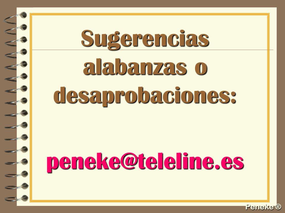 Sugerencias alabanzas o desaprobaciones: peneke@teleline.es