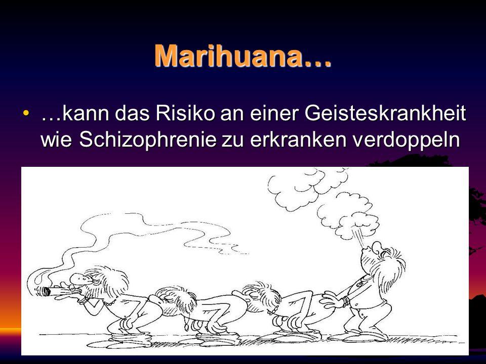 Marihuana… …kann das Risiko an einer Geisteskrankheit wie Schizophrenie zu erkranken verdoppeln…kann das Risiko an einer Geisteskrankheit wie Schizoph