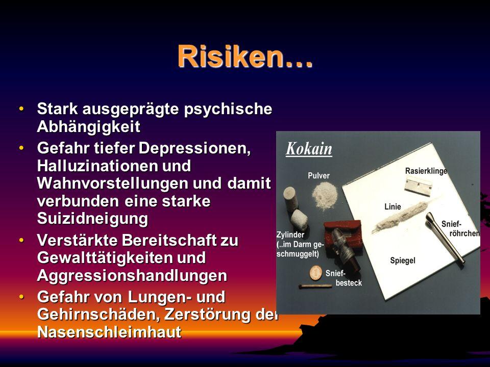 Risiken… Stark ausgeprägte psychische AbhängigkeitStark ausgeprägte psychische Abhängigkeit Gefahr tiefer Depressionen, Halluzinationen und Wahnvorste