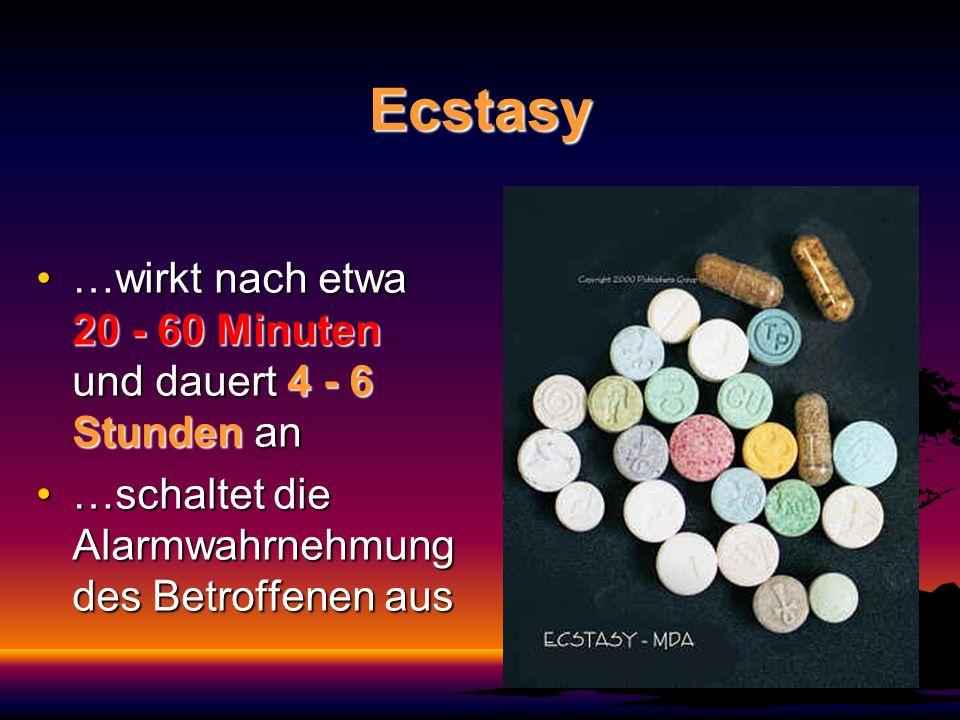 Ecstasy …wirkt nach etwa 20 - 60 Minuten und dauert 4 - 6 Stunden an…wirkt nach etwa 20 - 60 Minuten und dauert 4 - 6 Stunden an …schaltet die Alarmwa