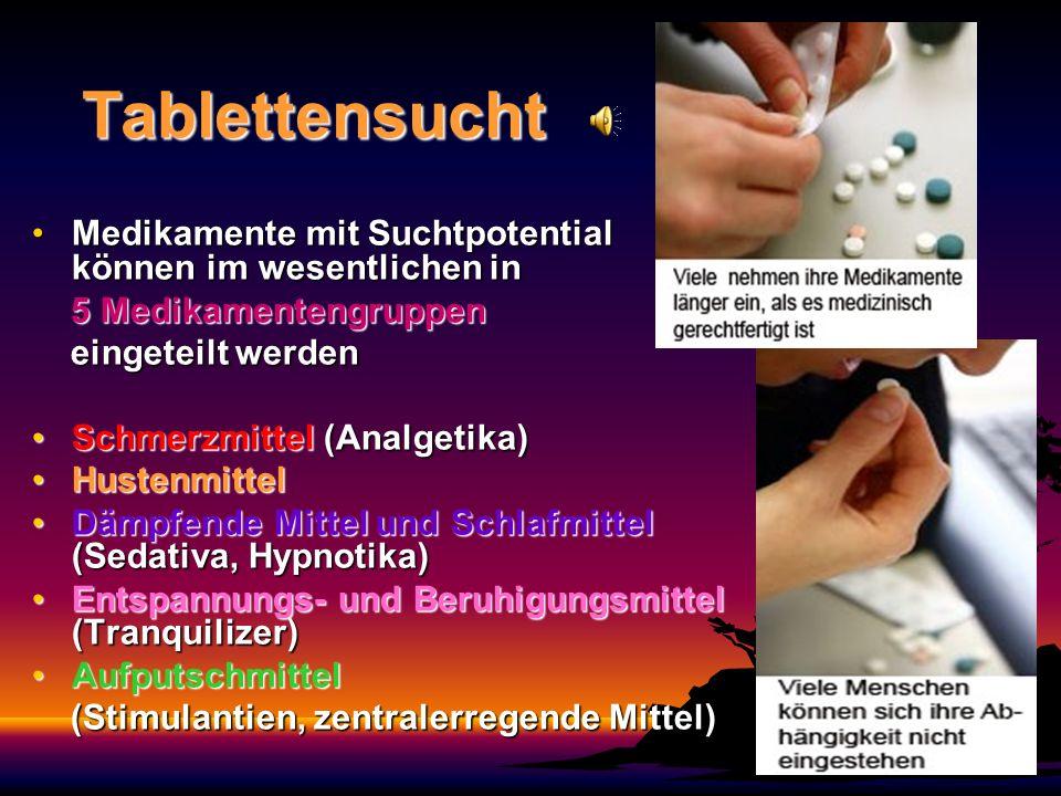 Tablettensucht Medikamente mit Suchtpotential können im wesentlichen inMedikamente mit Suchtpotential können im wesentlichen in 5 Medikamentengruppen