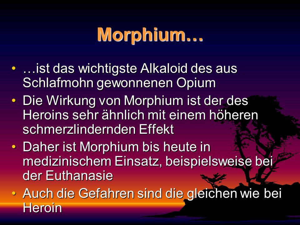 Morphium… …ist das wichtigste Alkaloid des aus Schlafmohn gewonnenen Opium…ist das wichtigste Alkaloid des aus Schlafmohn gewonnenen Opium Die Wirkung