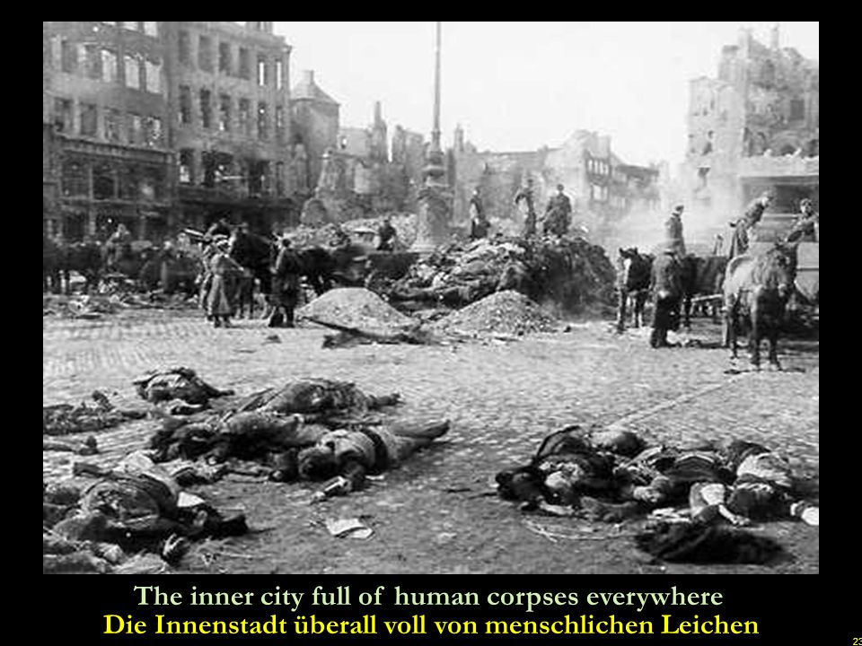 22 Dresden was attacked on the evening of February 13. 1945 by approximately 700 - 800 British bombers, dropping about 3000 high explosive bombs on th