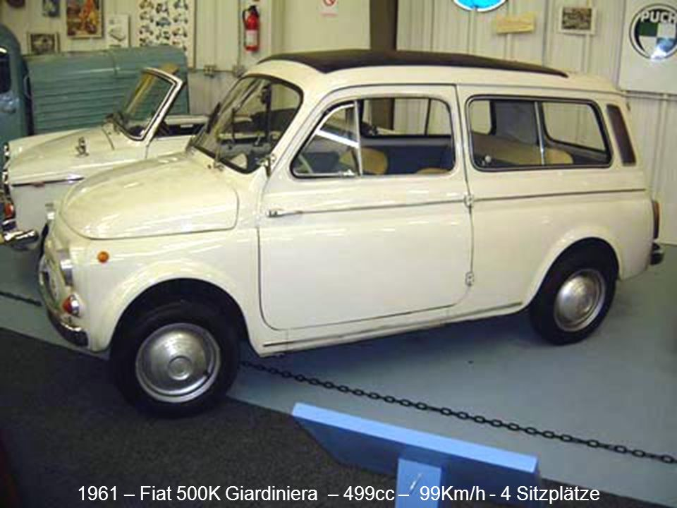 1961 – Autobianchi Bianchina Cabriolet – 499cc – 105Km/h - 2 places