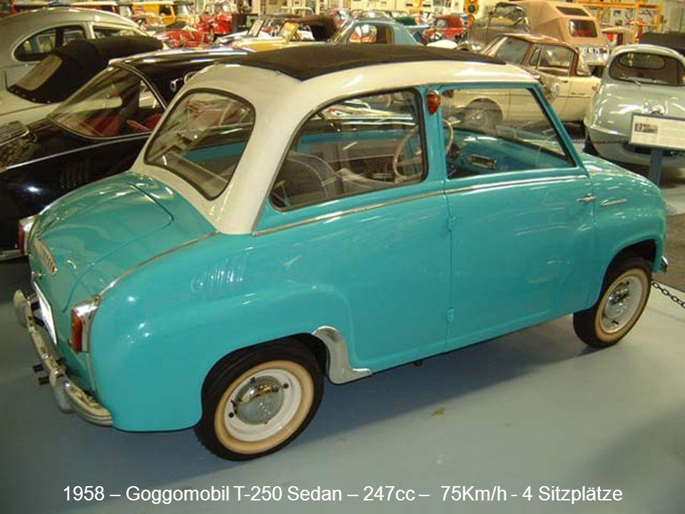 1961 – BMW Isetta 300 (Polizei) – 295cc – 85Km/h - 2 Sitzplätze