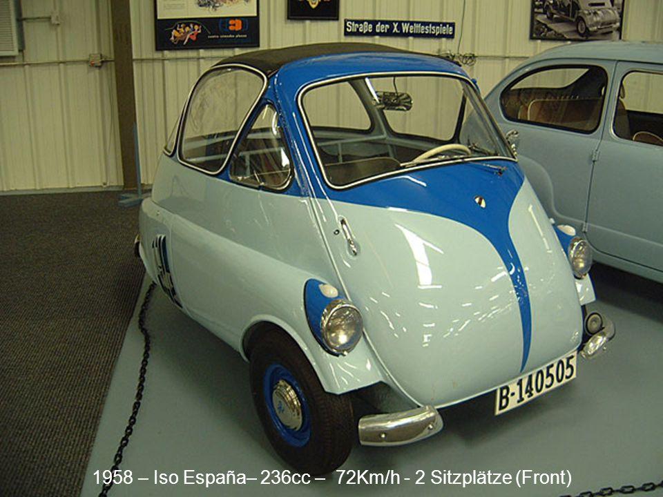 1958 – Iso España– 236cc – 72Km/h - 2 Sitzplätze (Front)