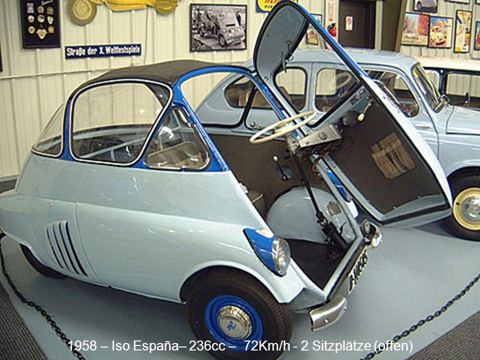 1958 – Iso España– 236cc – 72Km/h - 2 Sitzplätze (Heck)