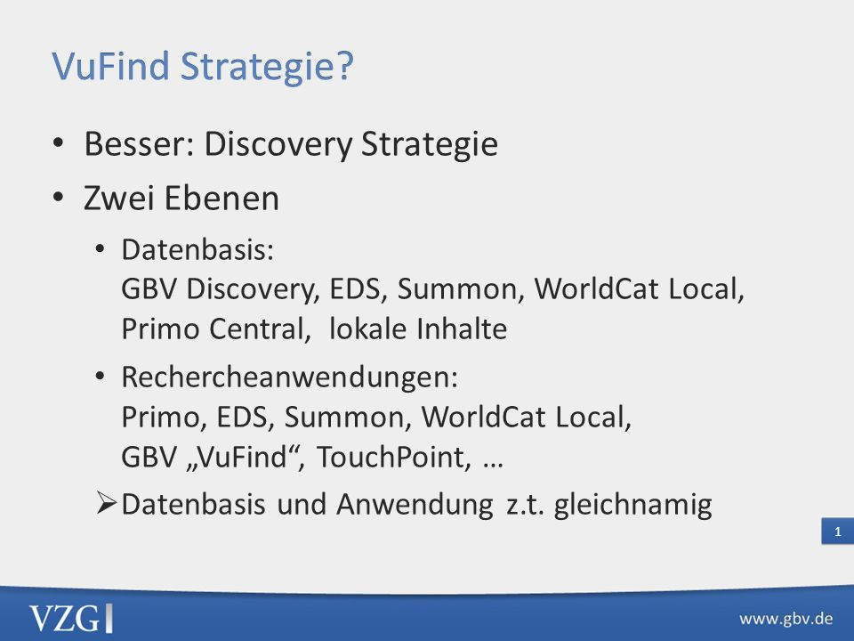 Besser: Discovery Strategie Zwei Ebenen Datenbasis: GBV Discovery, EDS, Summon, WorldCat Local, Primo Central, lokale Inhalte Rechercheanwendungen: Pr
