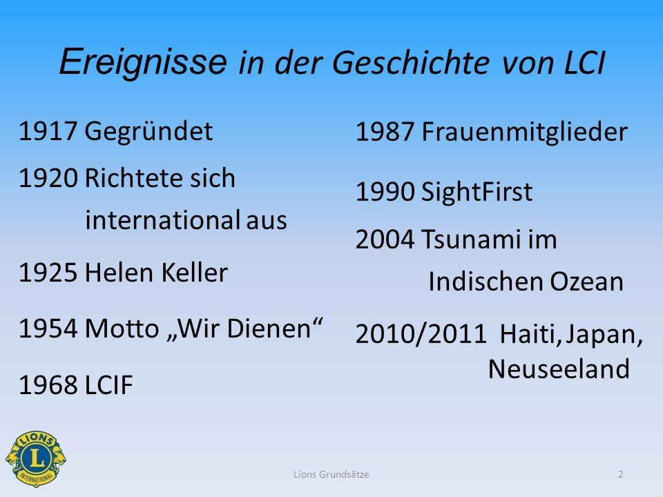 1917 Gegründet 1920 Richtete sich international aus 1925 Helen Keller 1954 Motto Wir Dienen 1968 LCIF Lions Grundsätze2 Ereignisse in der Geschichte v