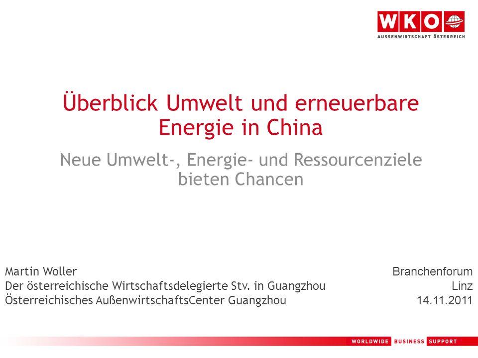 2 Österreichisches AußenwirtschaftsCenter Guangzhou – Branchenfokus Umwelttechnologie in China Erneuerbare Energie in China Geschäftschancen / Gefahren auf Grund der chinesischen Entwicklungen und Pläne Q+A