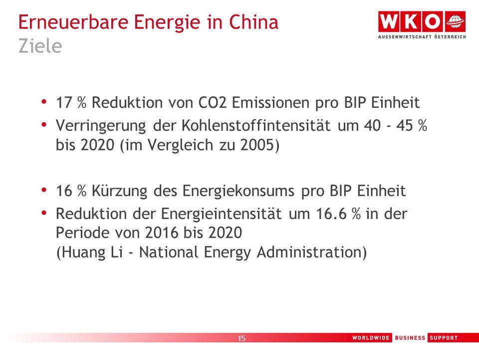 16 Österreichisches AußenwirtschaftsCenter Guangzhou – Branchenfokus Umwelttechnologie in China Erneuerbare Energie in China Geschäftschancen / Gefahren auf Grund der chinesischen Entwicklungen und Pläne Q+A