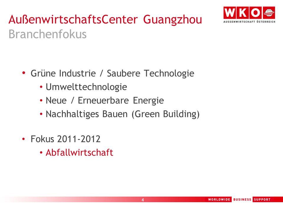 5 Österreichisches AußenwirtschaftsCenter Guangzhou – Branchenfokus Umwelttechnologie in China Erneuerbare Energie in China Geschäftschancen / Gefahren auf Grund der chinesischen Entwicklungen und Pläne Q+A