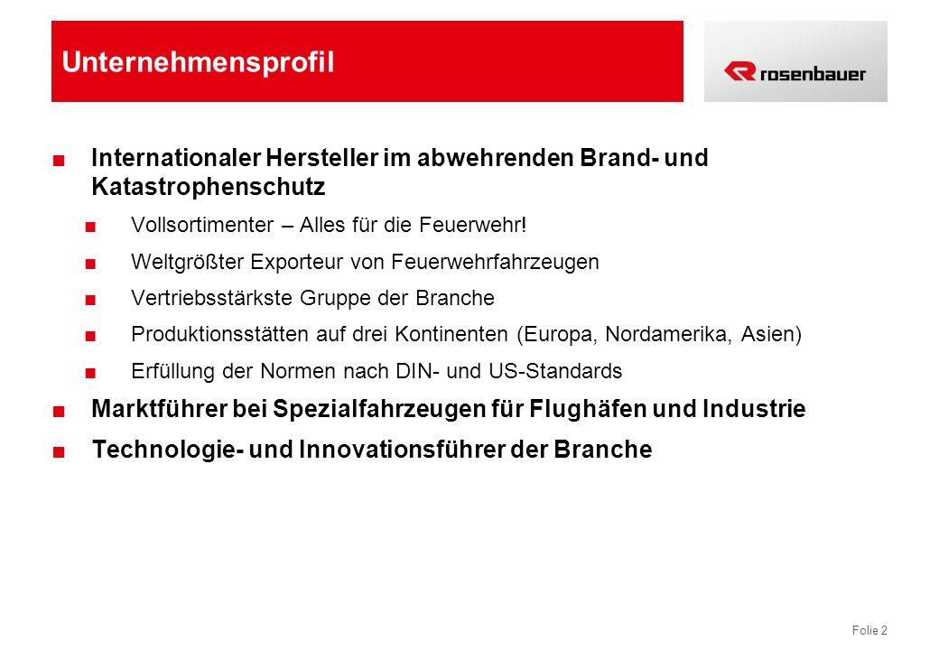 Folie 2 Unternehmensprofil Internationaler Hersteller im abwehrenden Brand- und Katastrophenschutz Vollsortimenter – Alles für die Feuerwehr.
