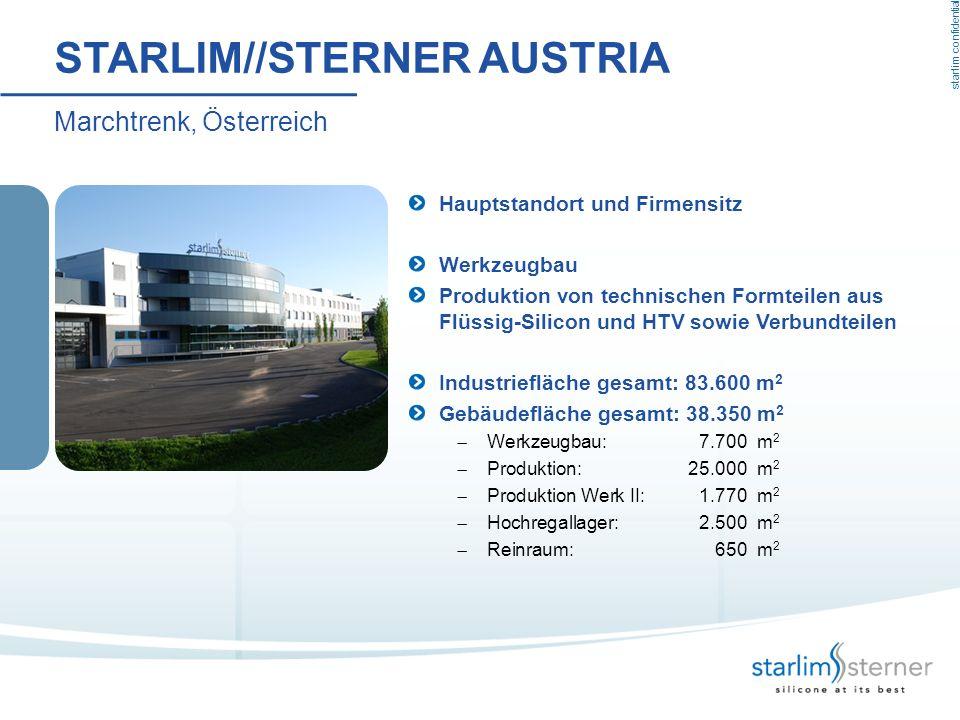 starlim confidential STARLIM//STERNER AUSTRIA Marchtrenk, Österreich Hauptstandort und Firmensitz Werkzeugbau Produktion von technischen Formteilen au