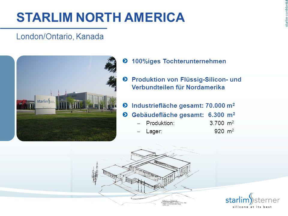 starlim confidential STARLIM NORTH AMERICA London/Ontario, Kanada 100%iges Tochterunternehmen Produktion von Flüssig-Silicon- und Verbundteilen für No
