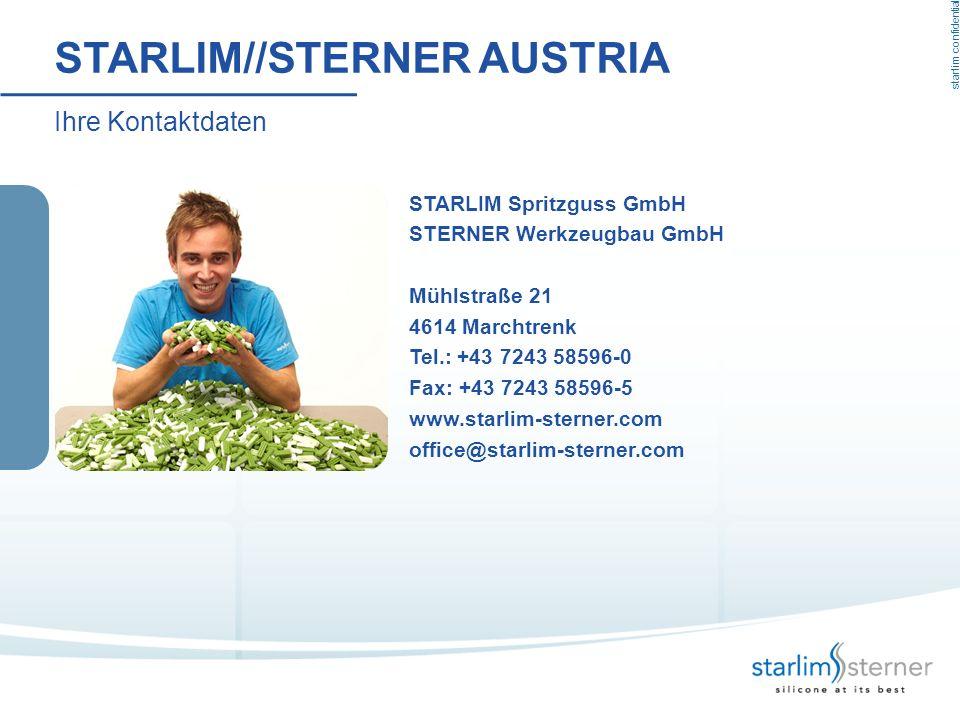 starlim confidential STARLIM//STERNER AUSTRIA STARLIM Spritzguss GmbH STERNER Werkzeugbau GmbH Mühlstraße 21 4614 Marchtrenk Tel.: +43 7243 58596-0 Fa